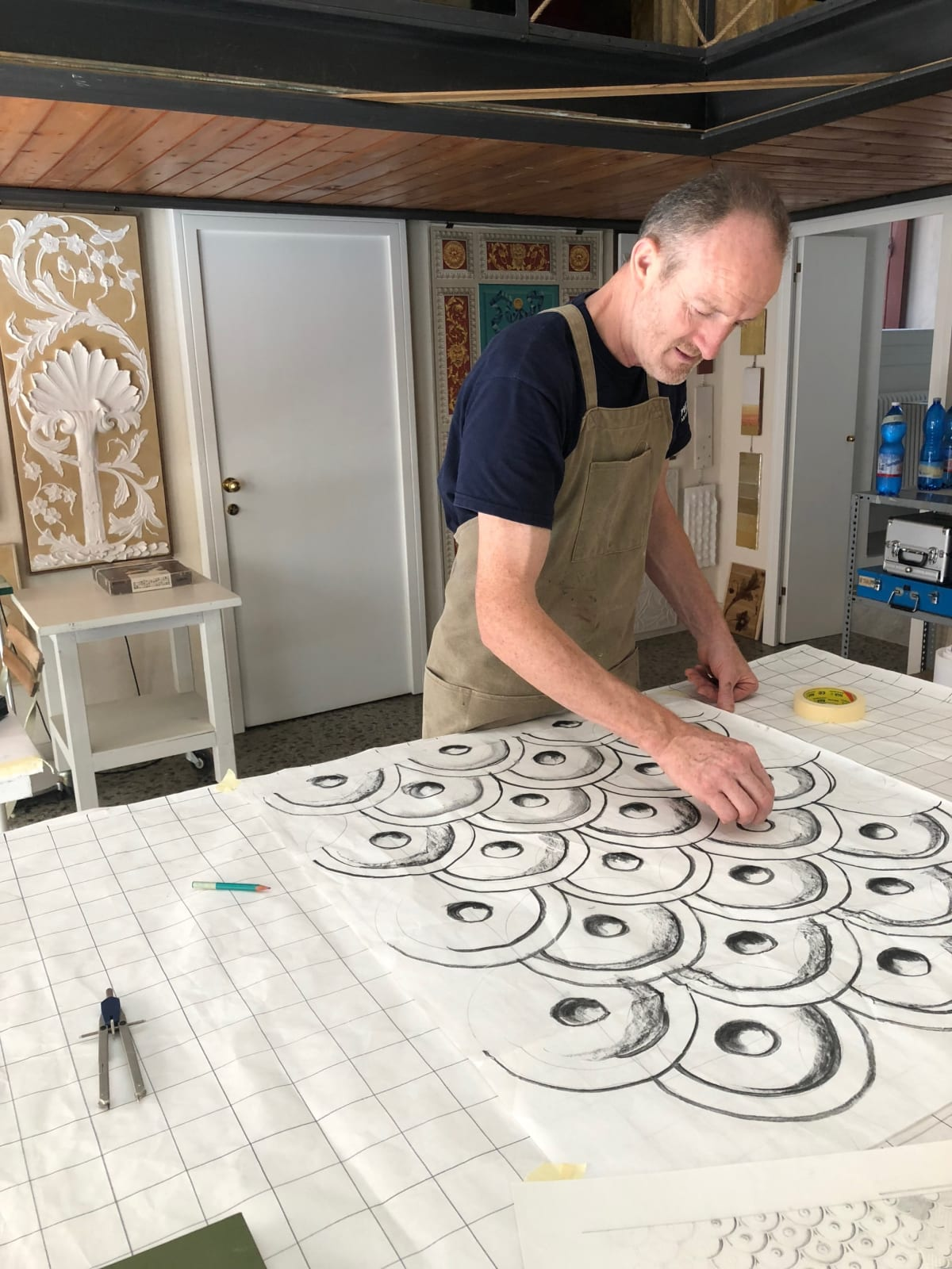 Sketching the Arch and Dome bas-relief design